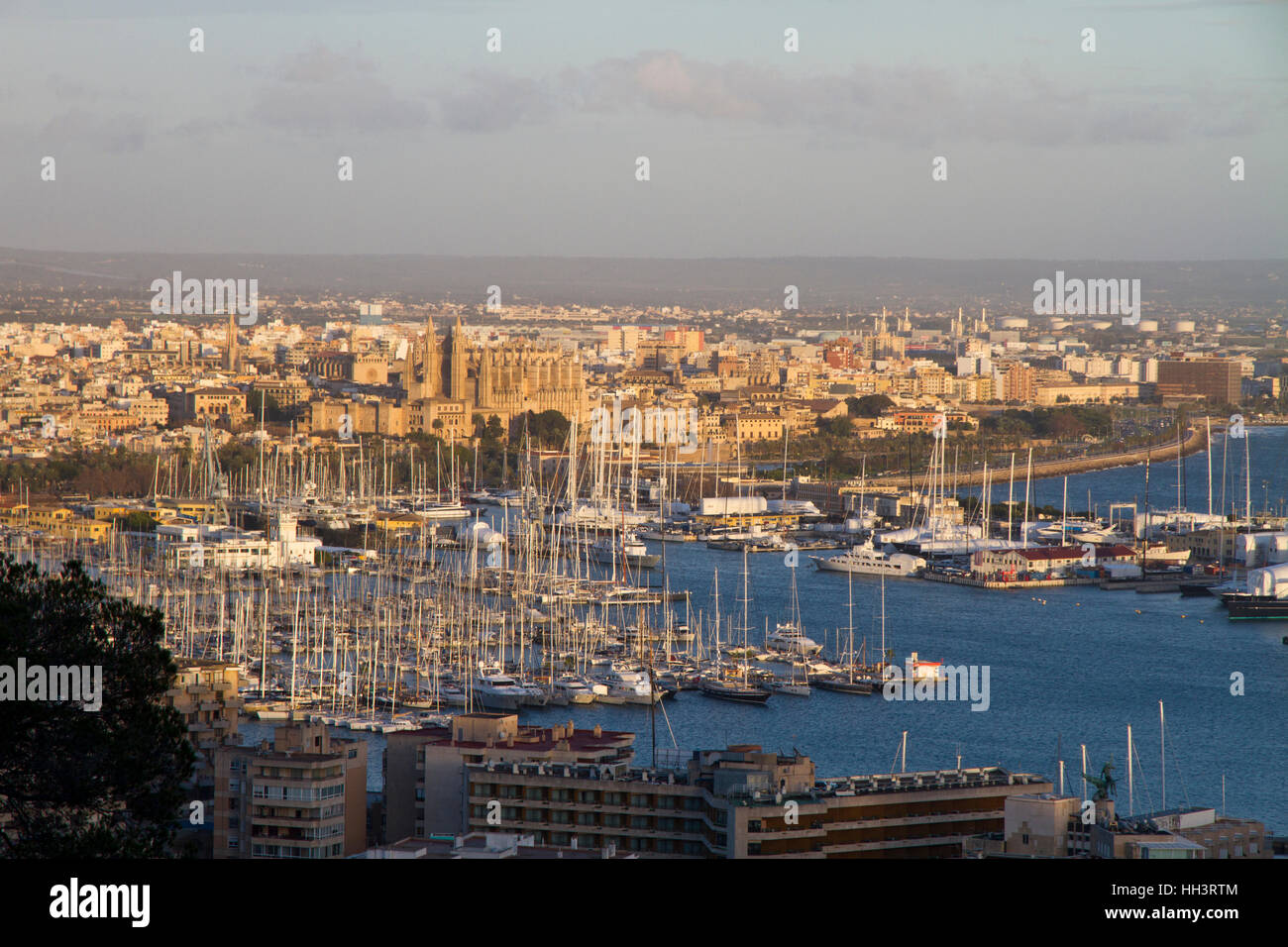 Palma de Mallorca hi view port Bay Majorca Balearic Spain - Stock Image