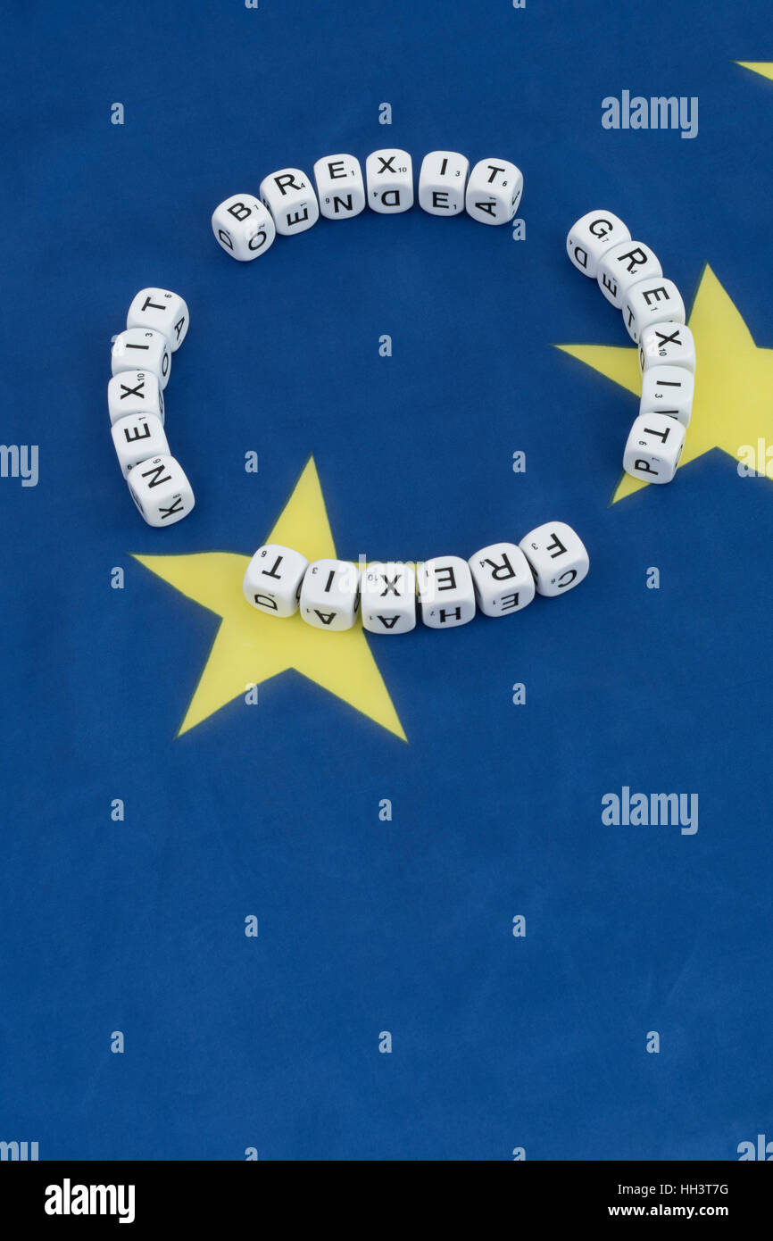 Brexit Grexit Frexit Nexit - words in a circle over a blue background with yellow stars. Metaphor for concept of - Stock Image
