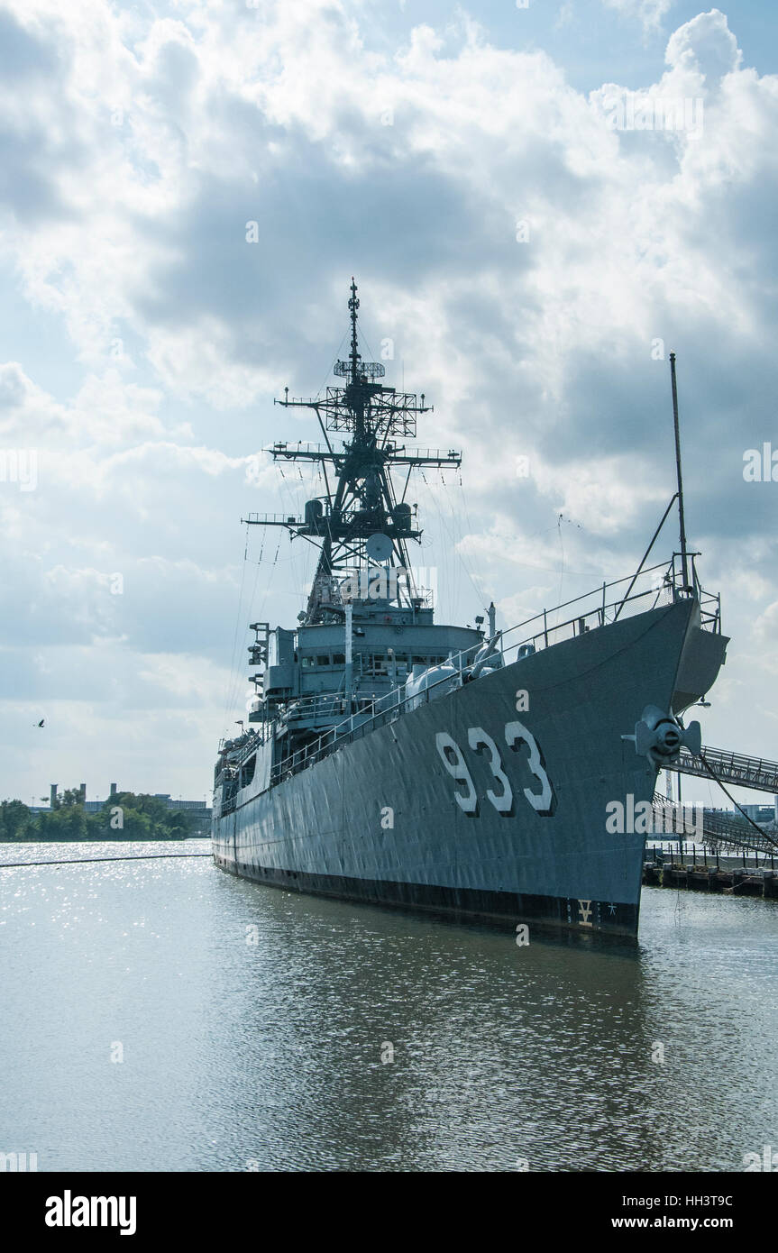 Navy ship is anchored at the Anacostia River Navy Yard in Washington, DC Stock Photo