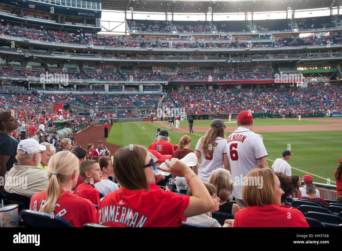 Fans at the Washington Nationals Ball Park in Washington, DC. Stock Photo