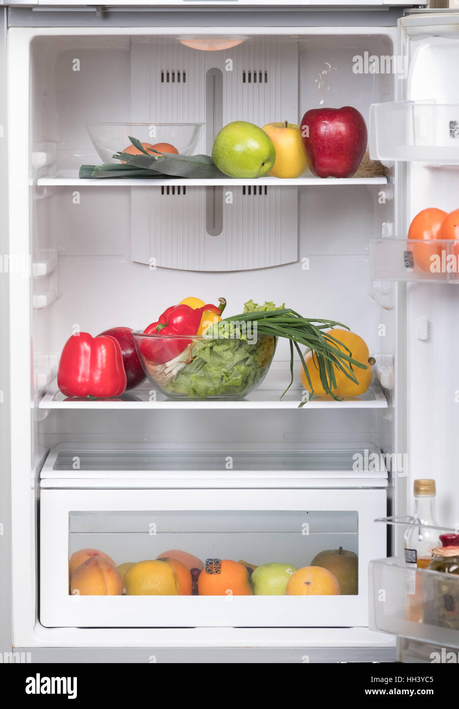 Open Fridge With Fruits And Vegetable Stock Photo 131009093 Alamy