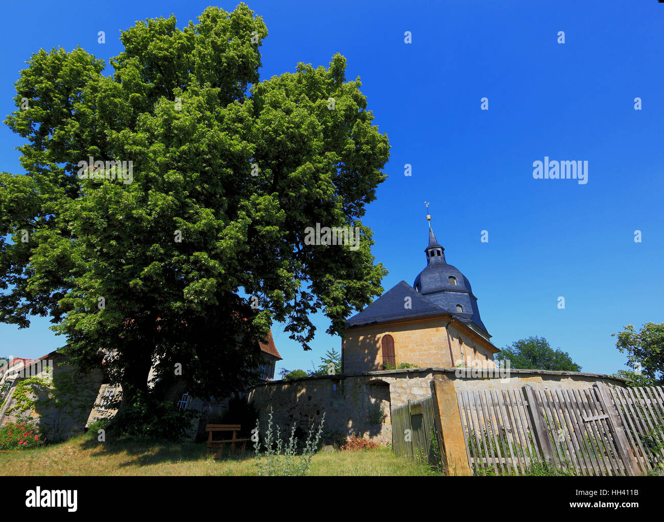 aisleless church Unsere liebe Frau, church of Langenstadt, district of  Kulmbach, Upper Franconia, Bavaria, Germany - Stock Image