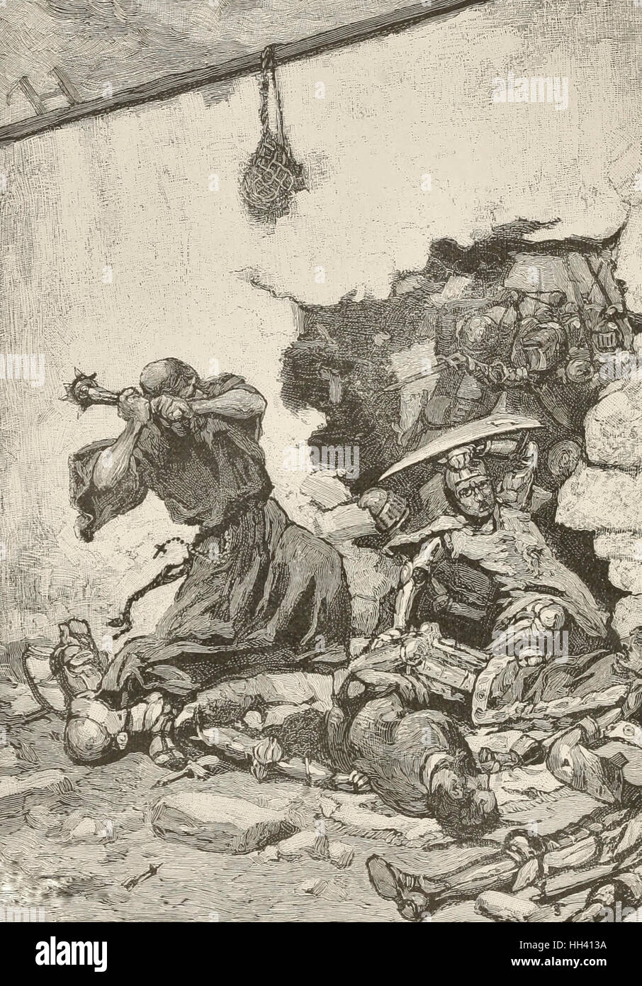 The Monk Sir Froissart in the breach of the Monastery Wall during the Hundred Years War - Stock Image