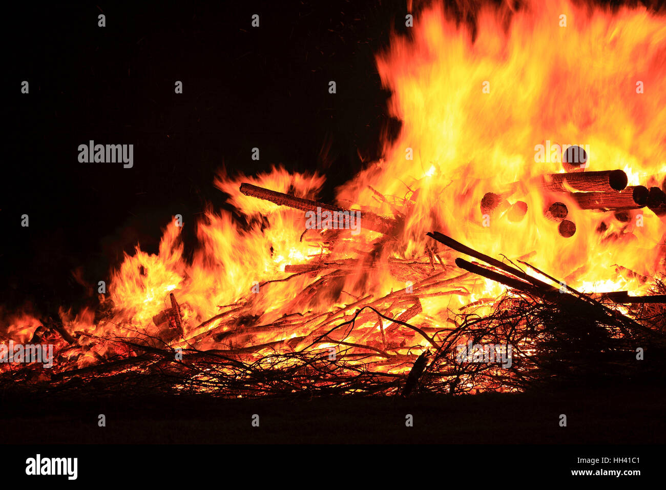 traditional Saint John's Fire, at the Goerauer Anger near Zultenberg, district of  Kulmbach, Upper Franconia, - Stock Image