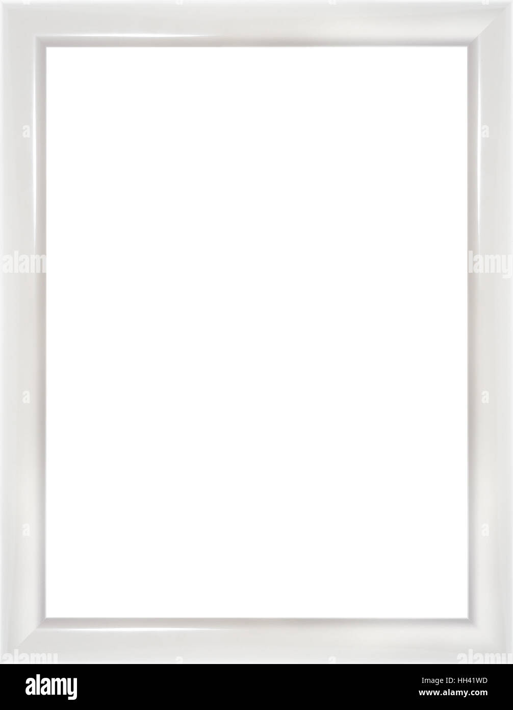 Wooden modern white picture frame isolated on white background. High ...