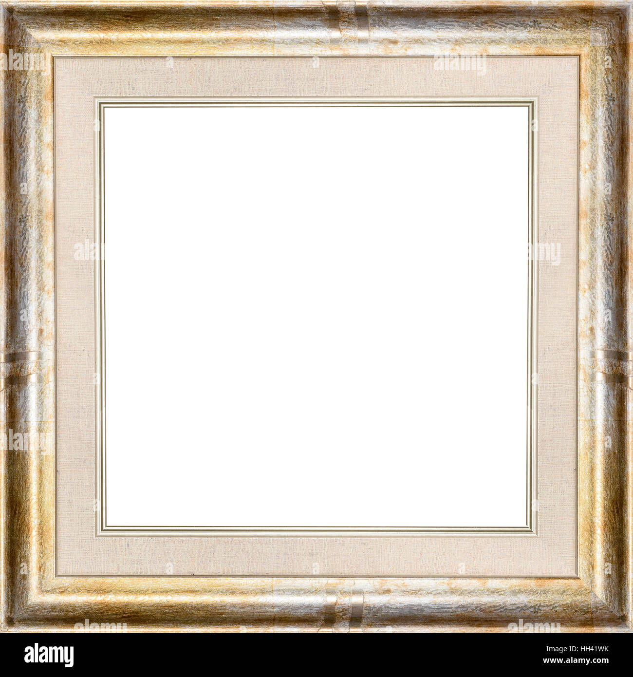 Wooden golden vintage picture frame isolated on white background ...