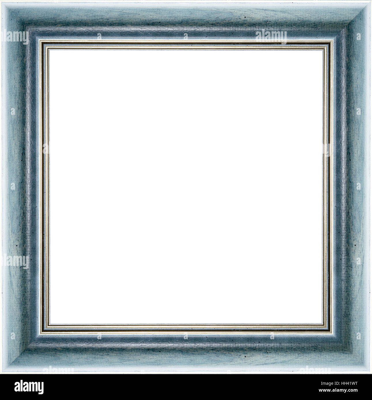 Wooden blue vintage picture frame isolated on white background. High ...