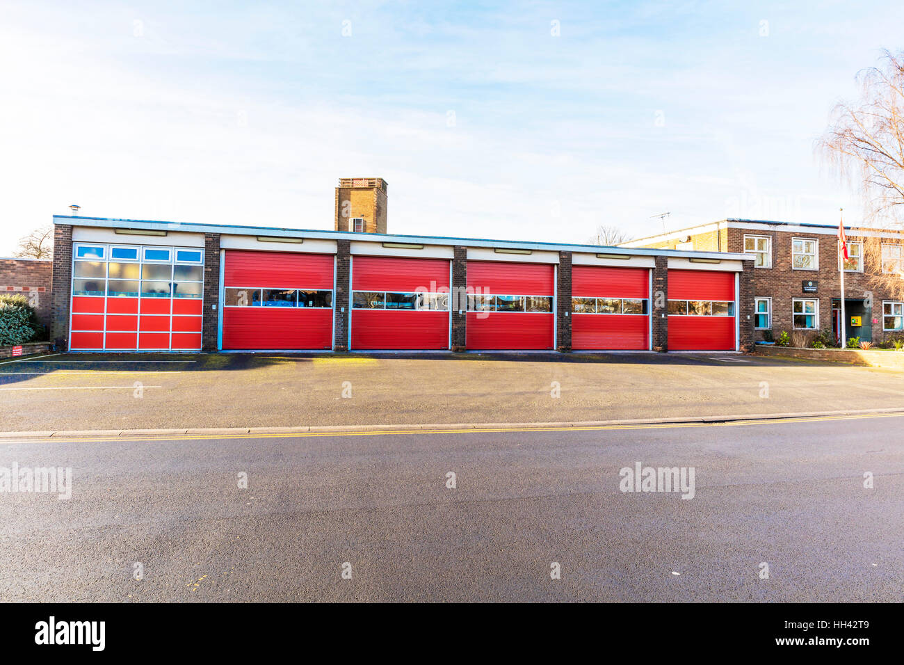 Humberside fire and rescue service fire station building exterior doors Scunthorpe Town, Lincolnshire UK England - Stock Image