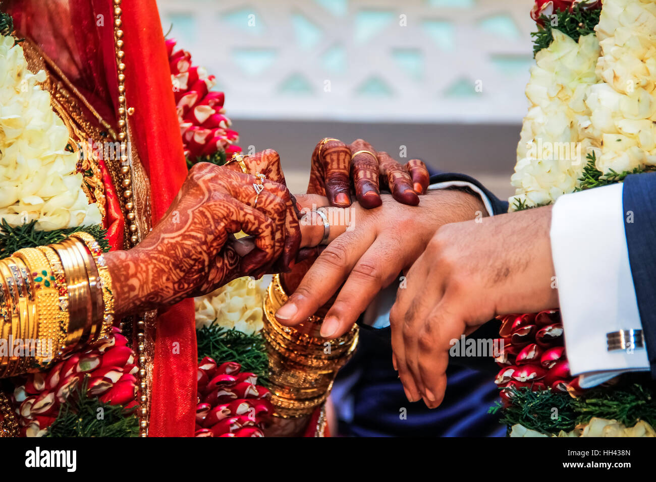 35843447b5866 Bride putting wedding ring on groom's finger at traditional south Indian  wedding ceremony - Stock Image