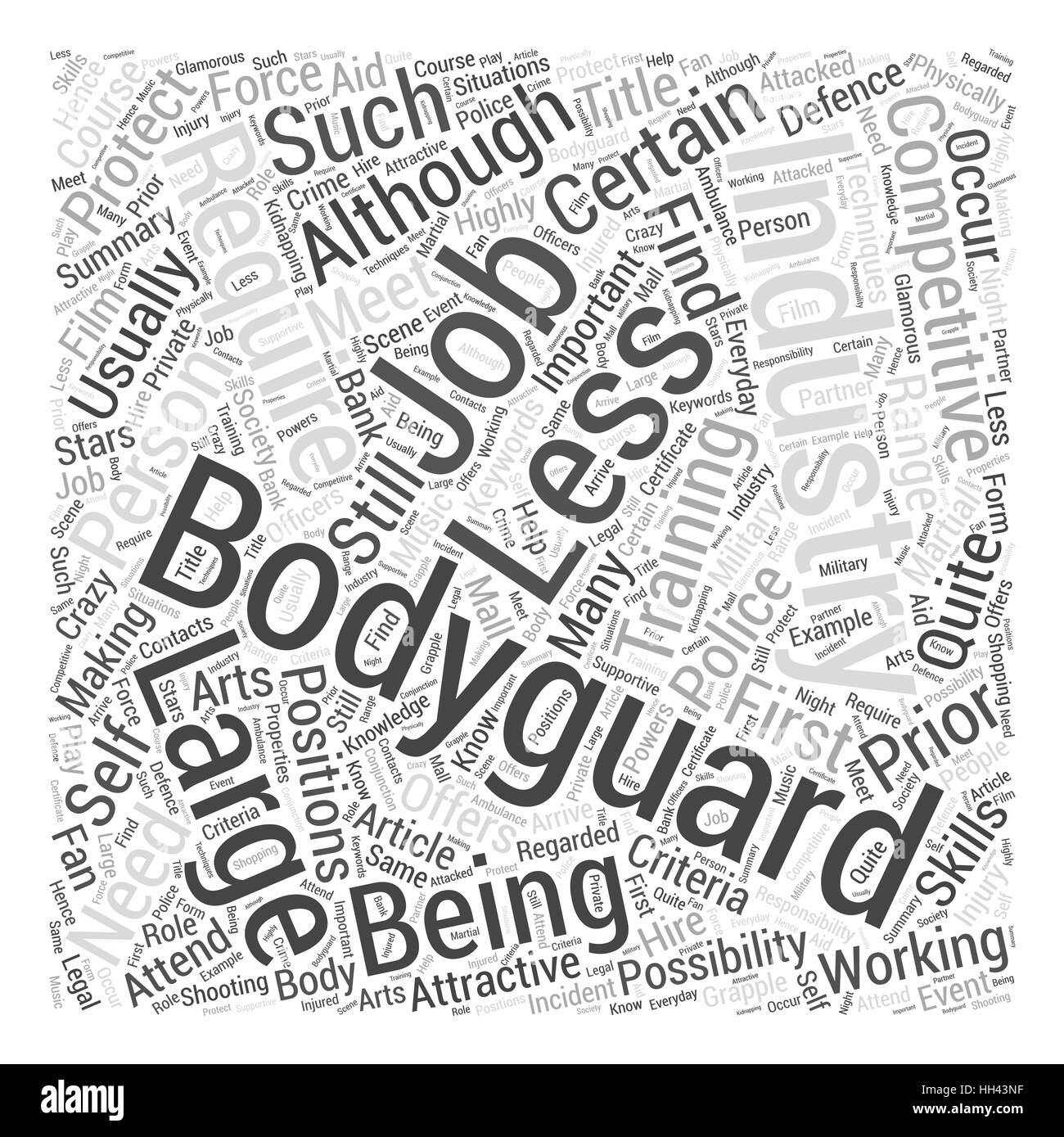 Bodyguard Jobs Word Cloud Concept - Stock Image
