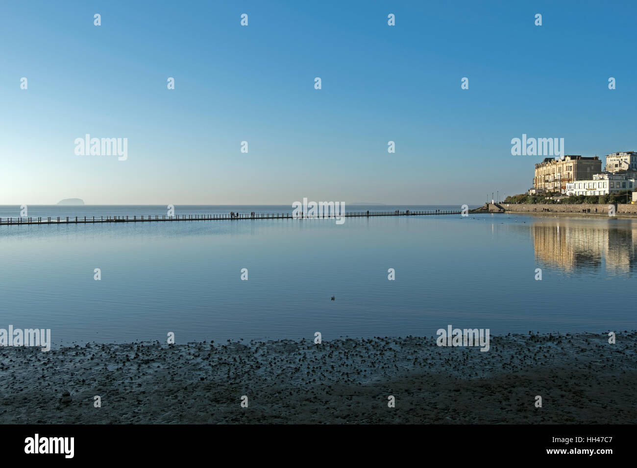 The Marine Lake in Weston-super-Mare, England on a sunny winter day - Stock Image