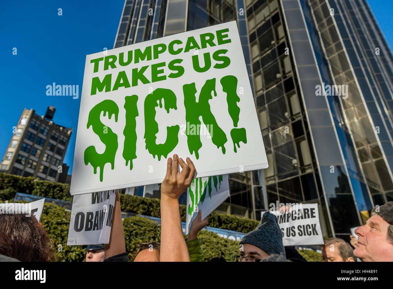 New York City, USA. 15th January, 2017. Hundreds of activists and allies from the newly-formed anti-Trump group Stock Photo