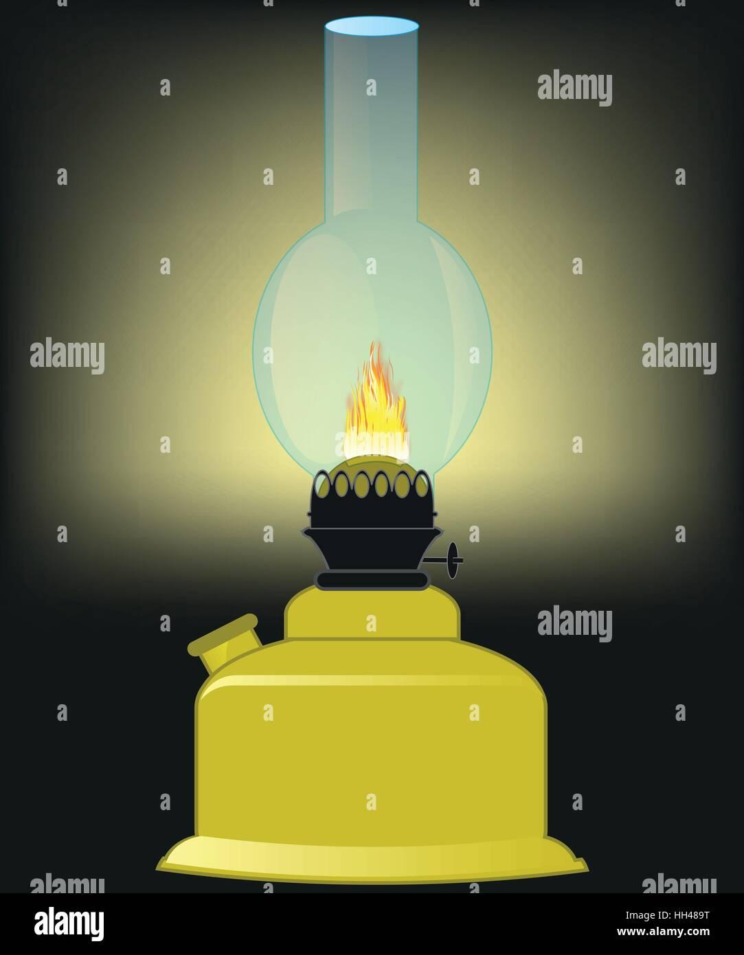 Lamp working at kerosine illuminates premises in the dark - Stock Vector