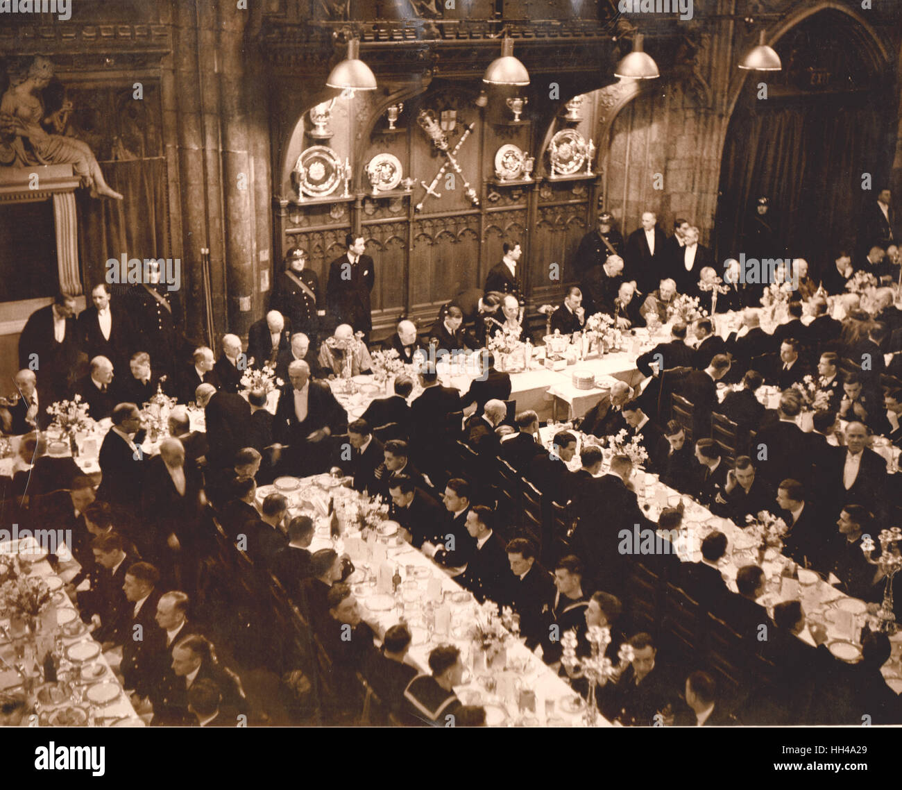 Feb 23rd The Guildhall where a lunch was hosted and attended by Winston Churchill. Graf Spee London Victory Parade - Stock Image