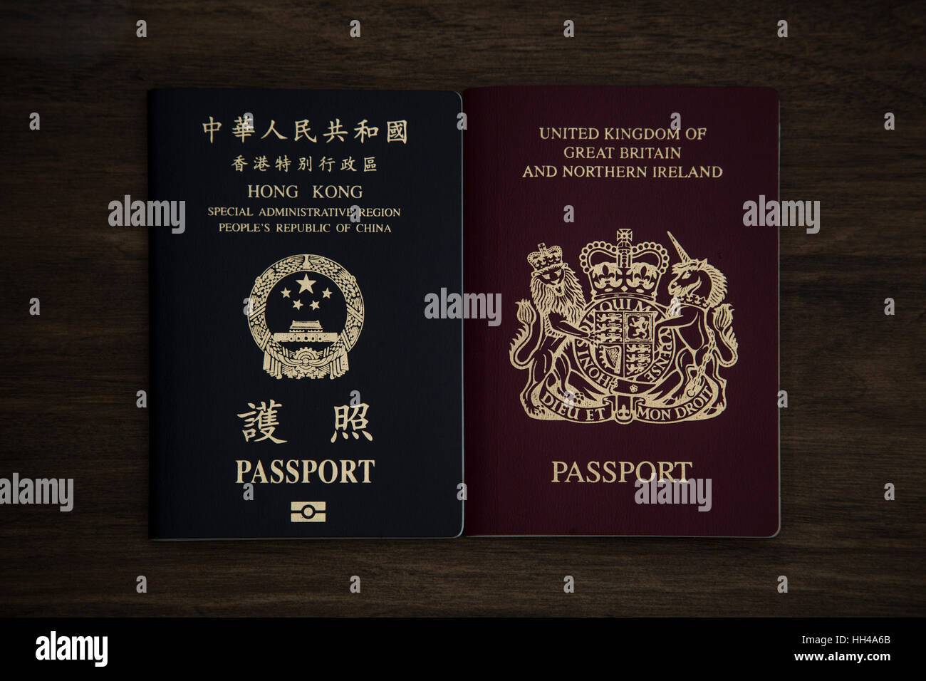 Hong Kong. 16th Jan, 2017. The picture shows the Hong Kong (HKSAR) passport and the British passport on the desk. - Stock Image