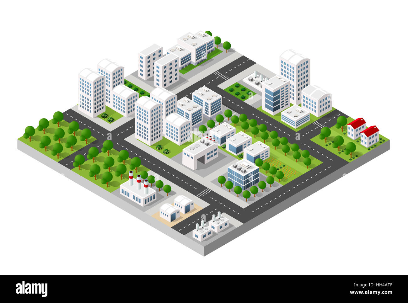 Top view of the city and the construction industry with isometric factories, mills, boilers and warehouses. - Stock Image