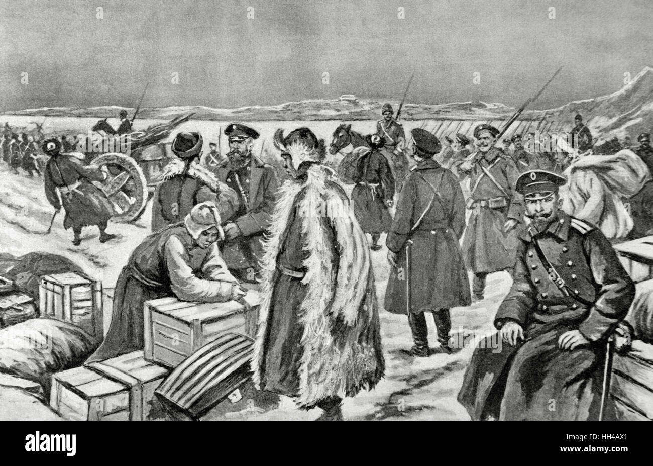 Russo-Japanese War (1904-1905). Russian army on the banks of the Yalu River, territory of Korea. Engraving. 'La - Stock Image