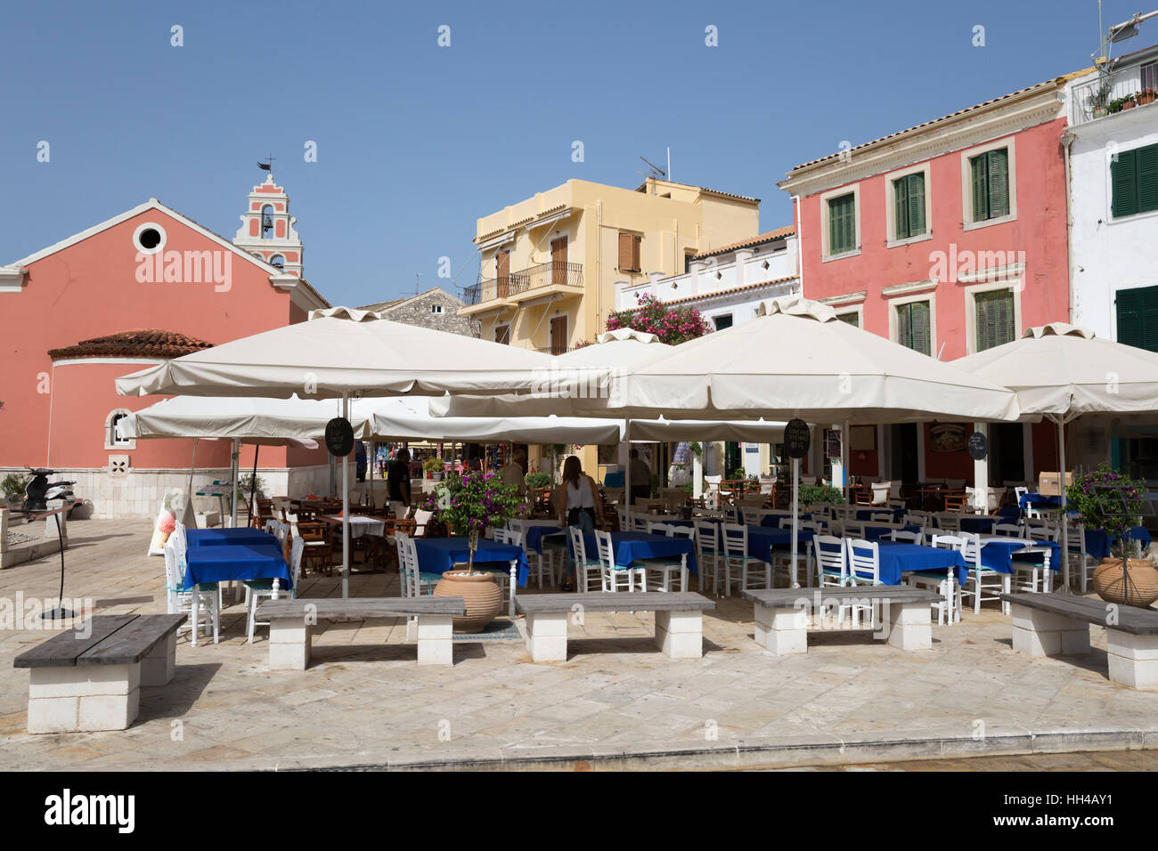 Cafes and restaurants in main square of Gaios town, Paxos, Ionian Islands, Greek Islands, Greece, Europe Stock Photo