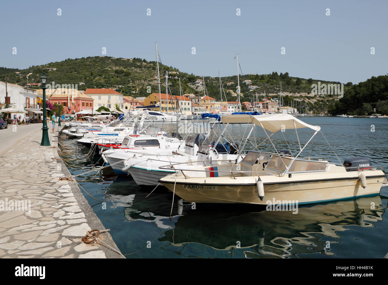 Harbour of Gaios town, Paxos, Ionian Islands, Greek Islands, Greece, Europe Stock Photo