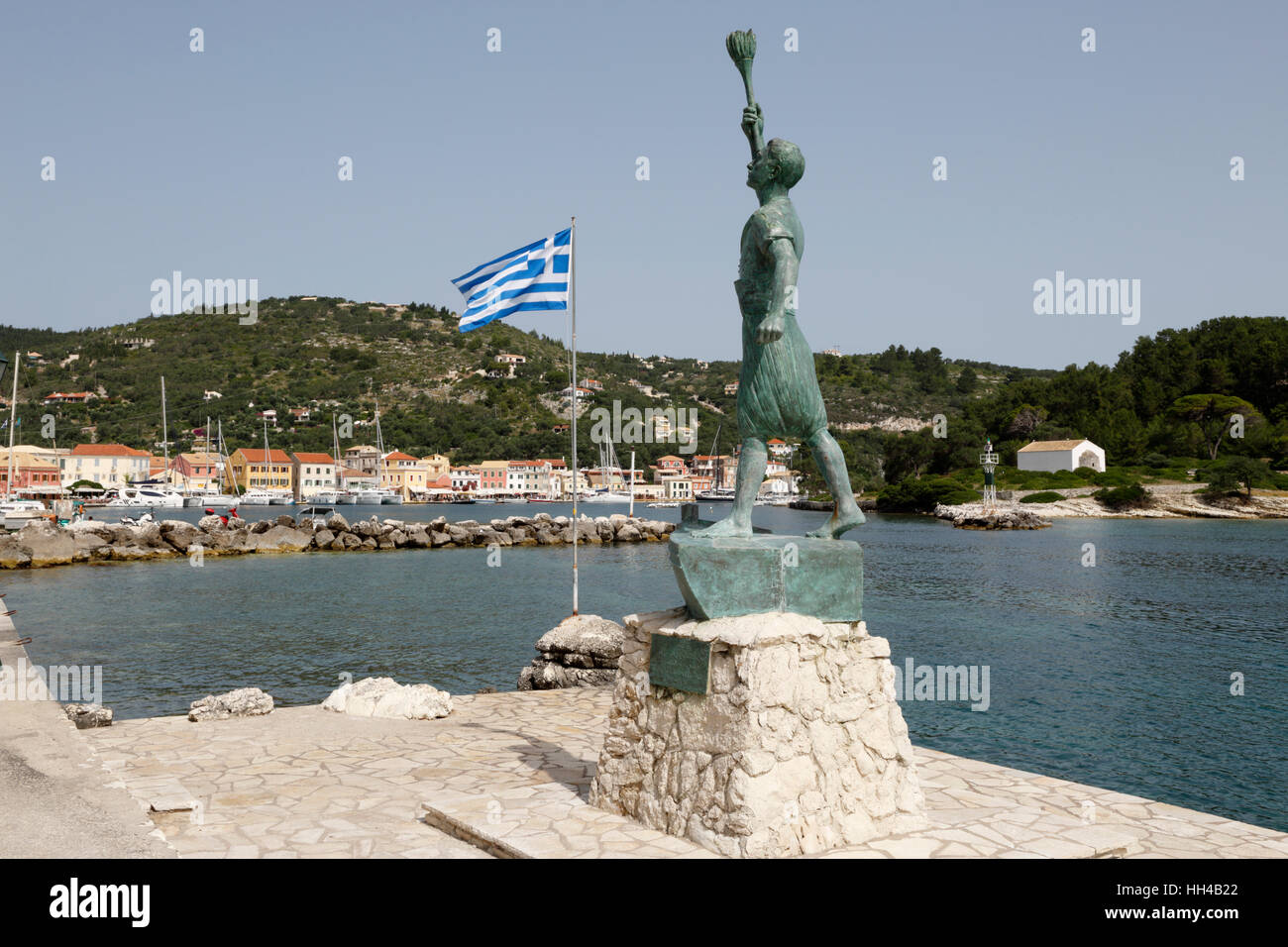 Harbour of Gaios town, Paxos, Ionian Islands, Greek Islands, Greece, Europe - Stock Image