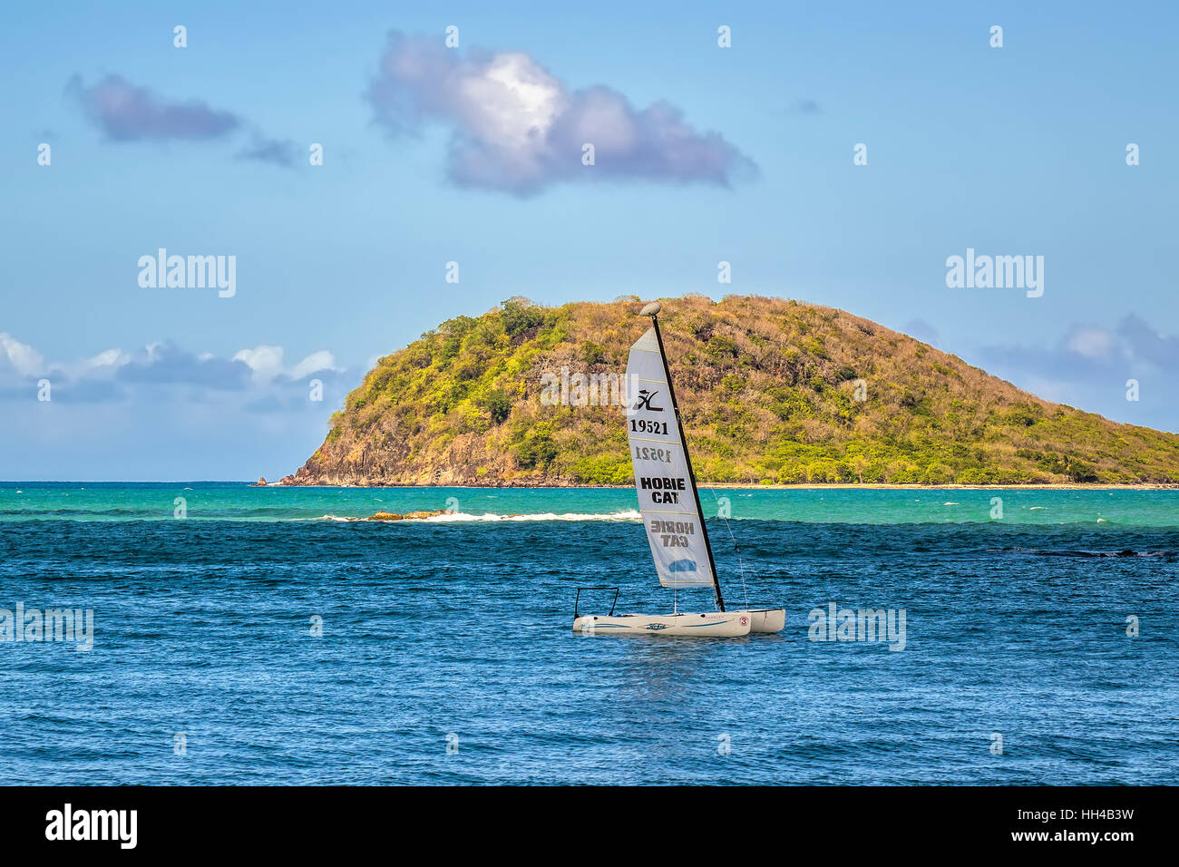 Tiny Island Off Guadeloupe West Indies - Stock Image