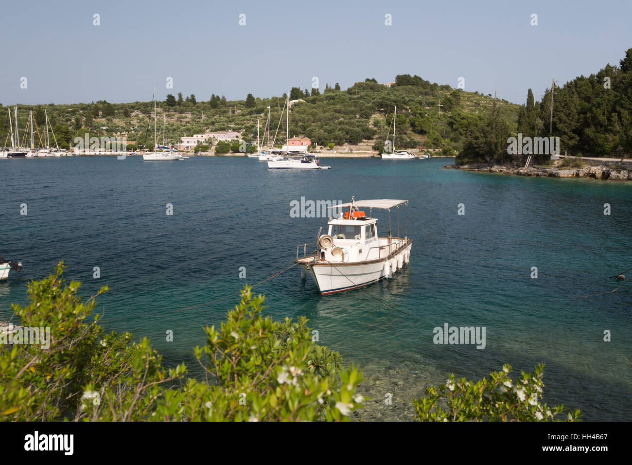 View to Mongonisi Island at southern tip of Paxos Island, Paxos, Ionian Islands, Greek Islands, Greece, Europe - Stock Image