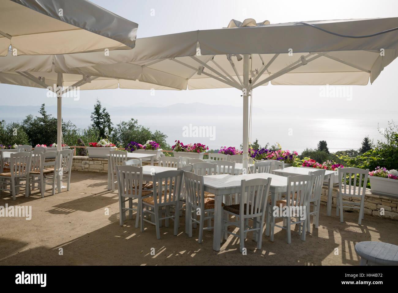 Pratigos restaurant, near Longos, Paxos, Ionian Islands, Greek Islands, Greece, Europe - Stock Image