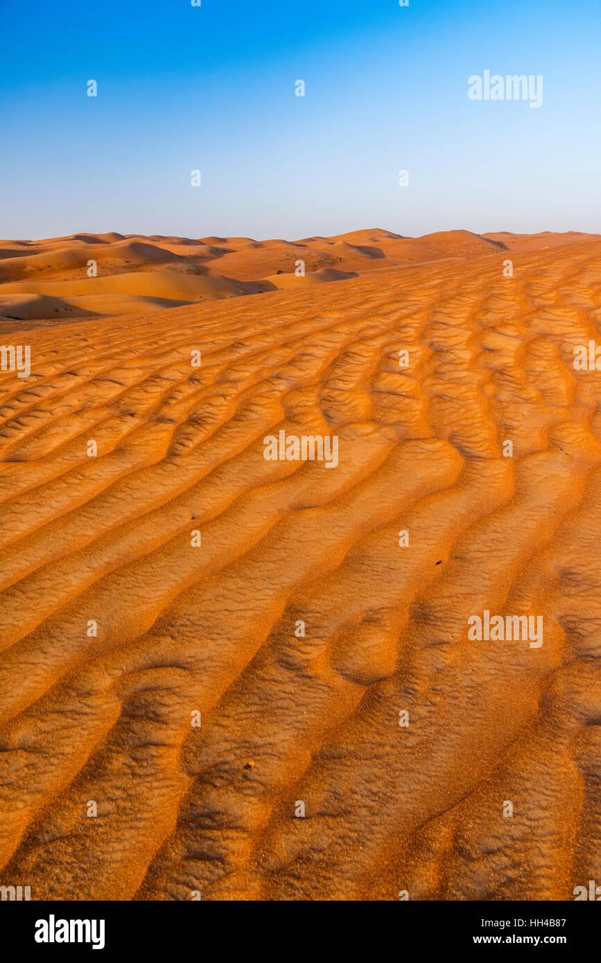 Sunset view of sand dunes in the Rub' al Khali desert, Al Ain, United Arab Emirates - Stock Image