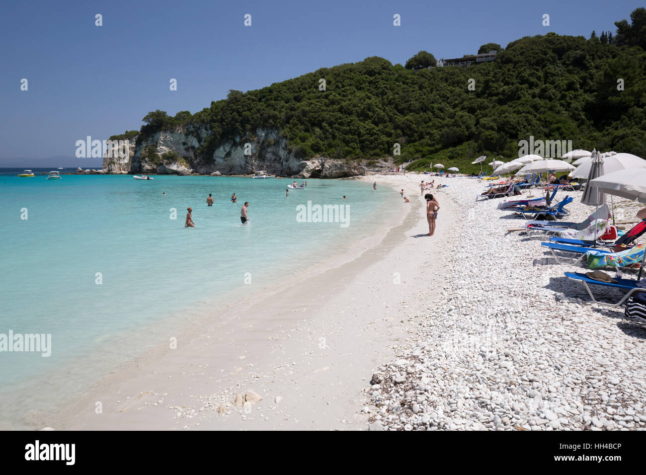 Voutoumi beach, Antipaxos, Ionian Islands, Greek Islands, Greece, Europe - Stock Image