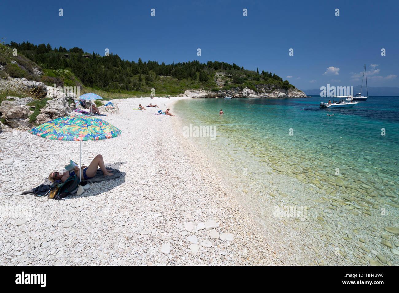 Kipiadi beach on east coast, Paxos, Ionian Islands, Greek Islands, Greece, Europe - Stock Image