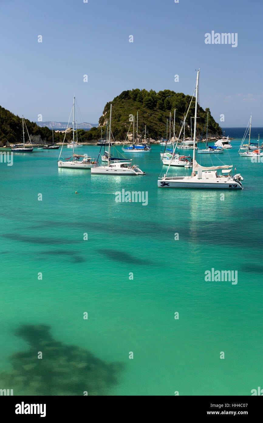 Yachts anchored in bay, Lakka, Paxos, Ionian Islands, Greek Islands, Greece, Europe - Stock Image