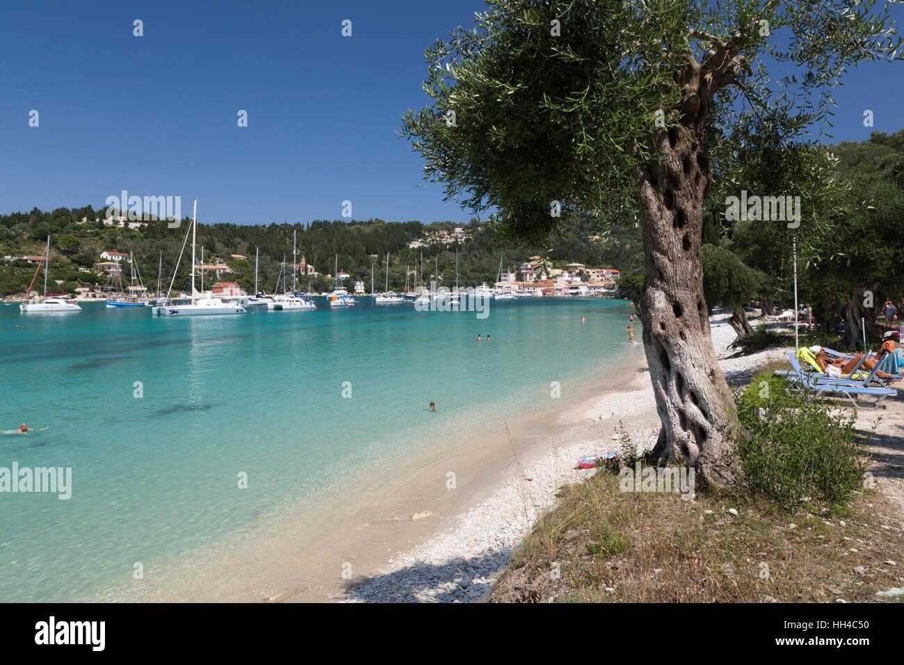 Pebble beach and bay, Lakka, Paxos, Ionian Islands, Greek Islands, Greece, Europe - Stock Image