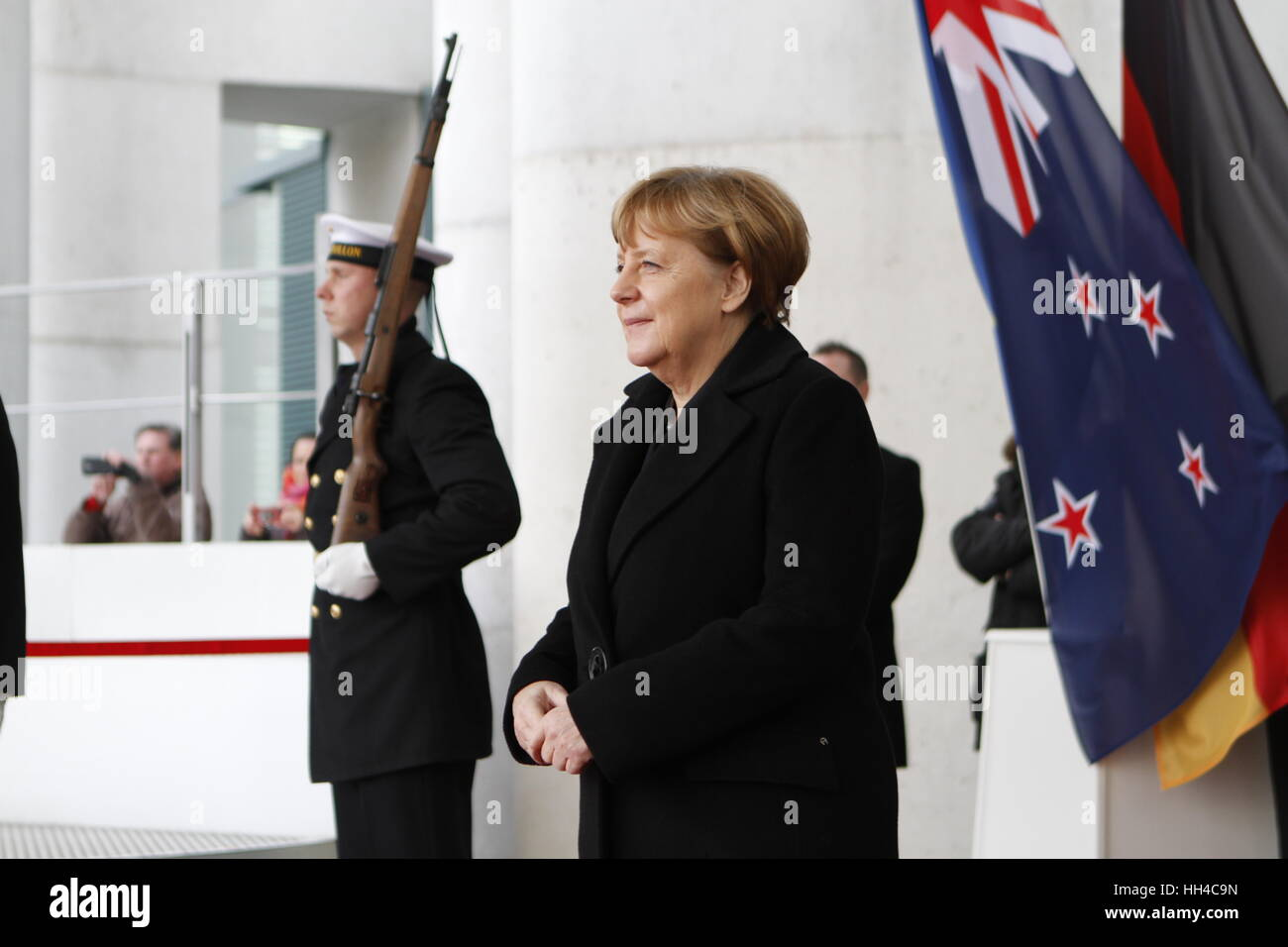 Berlin, Germany. 16th Jan, 2017. The photo shows Federal Chancellor Angela Merkel in front of the Federal Chancellery. - Stock Image