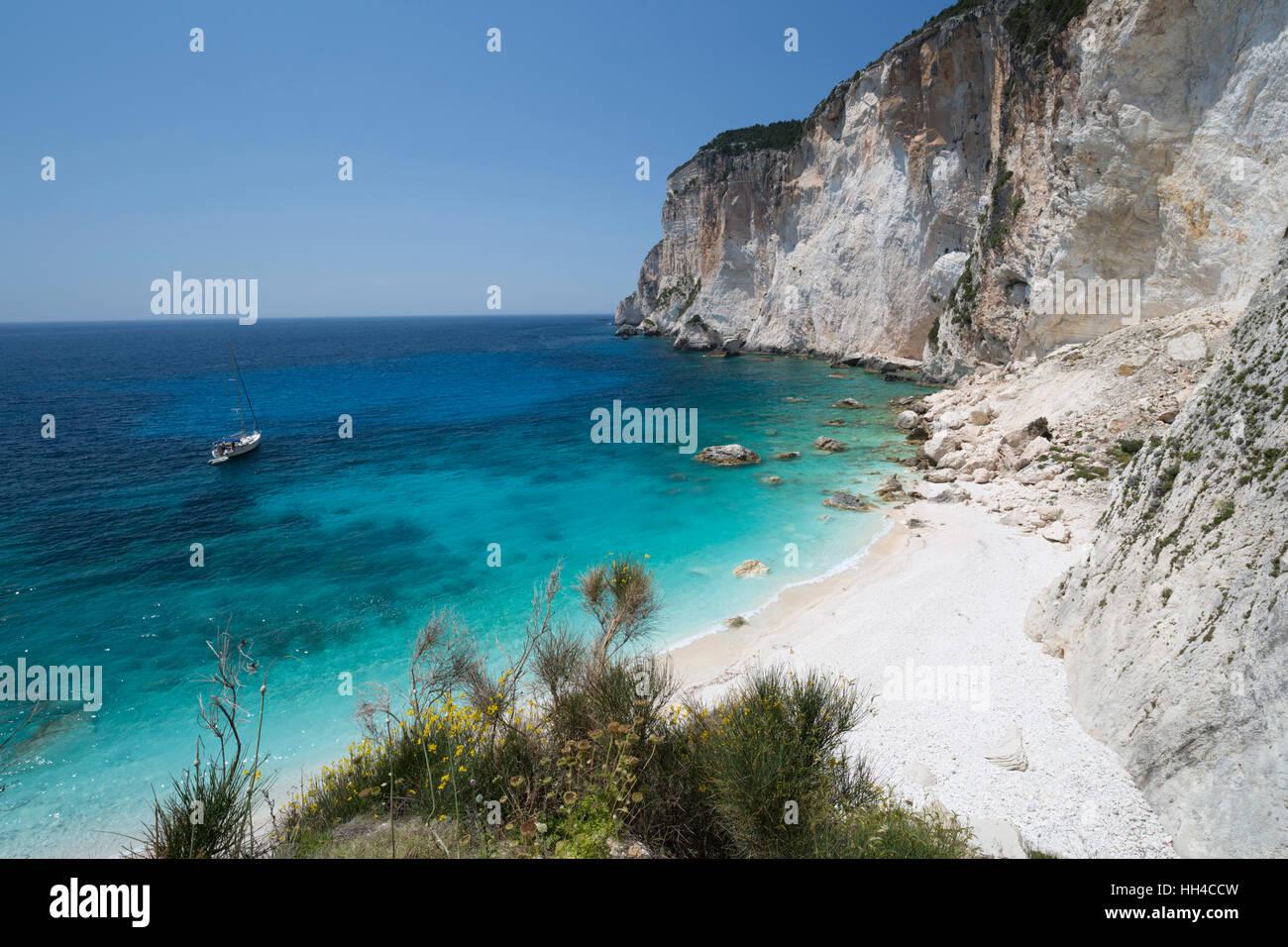 Erimitis beach on west coast, Paxos, Ionian Islands, Greek Islands, Greece, Europe - Stock Image