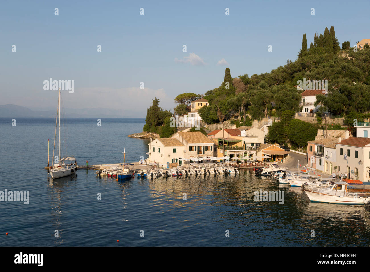 View over harbour, Loggos, Paxos, Ionian Islands, Greek Islands, Greece, Europe - Stock Image