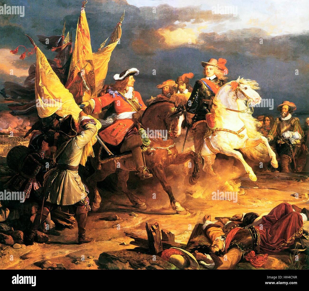 Battle of Villaviciosa during The War of the Spanish Succession (1701–1714) was a major European conflict of the early 18th century, Battle of Villaviciosa, Louis Joseph, Duke of Vendôme and Philip V of Spain Stock Photo