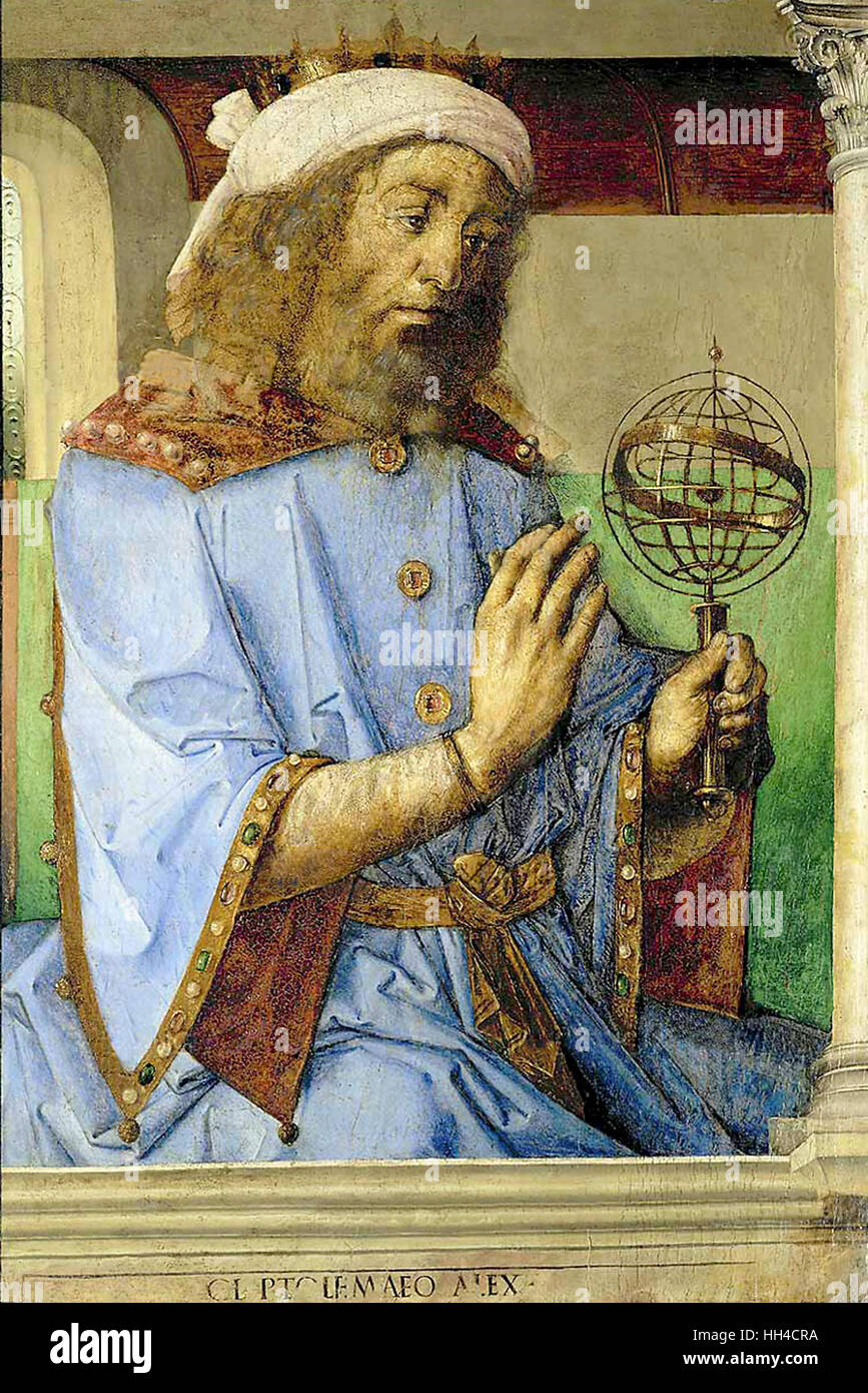 Claudius Ptolemy; AD 100 –170 Greek writer, mathematician, astronomer, geographer, astrologer, and poet. circa - Stock Image