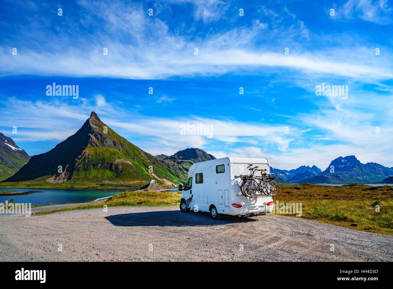 Family vacation travel, holiday trip in motorhome, Caravan car Vacation. Beautiful Nature Norway natural landscape. - Stock Image