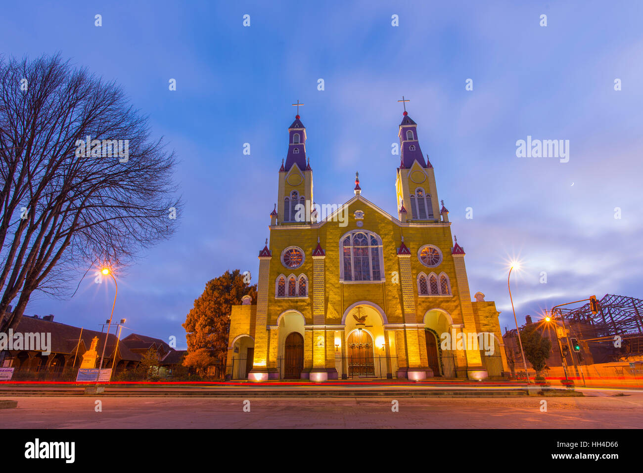 Big island of Chiloé. The lakes, Chile. Castro Church. churches of chiloe - Stock Image