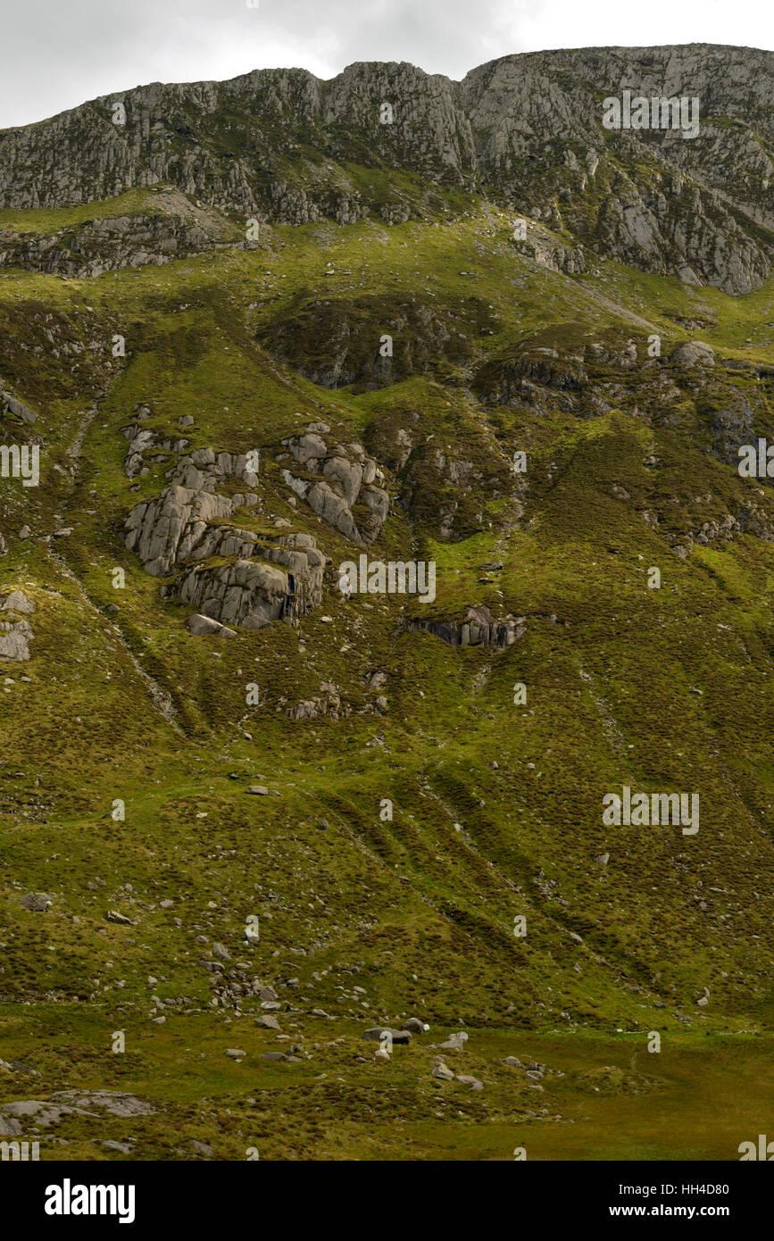 Cwm Idwal Hillside Scars Stock Photo