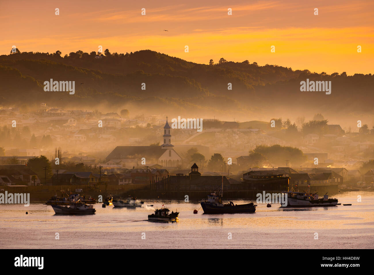 Big island of Chiloé. The lakes, Chile. Dalcahue city. - Stock Image