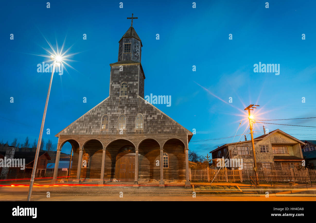 Big island of Chiloé. The lakes, Chile. Achao city. churches of chiloe - Stock Image