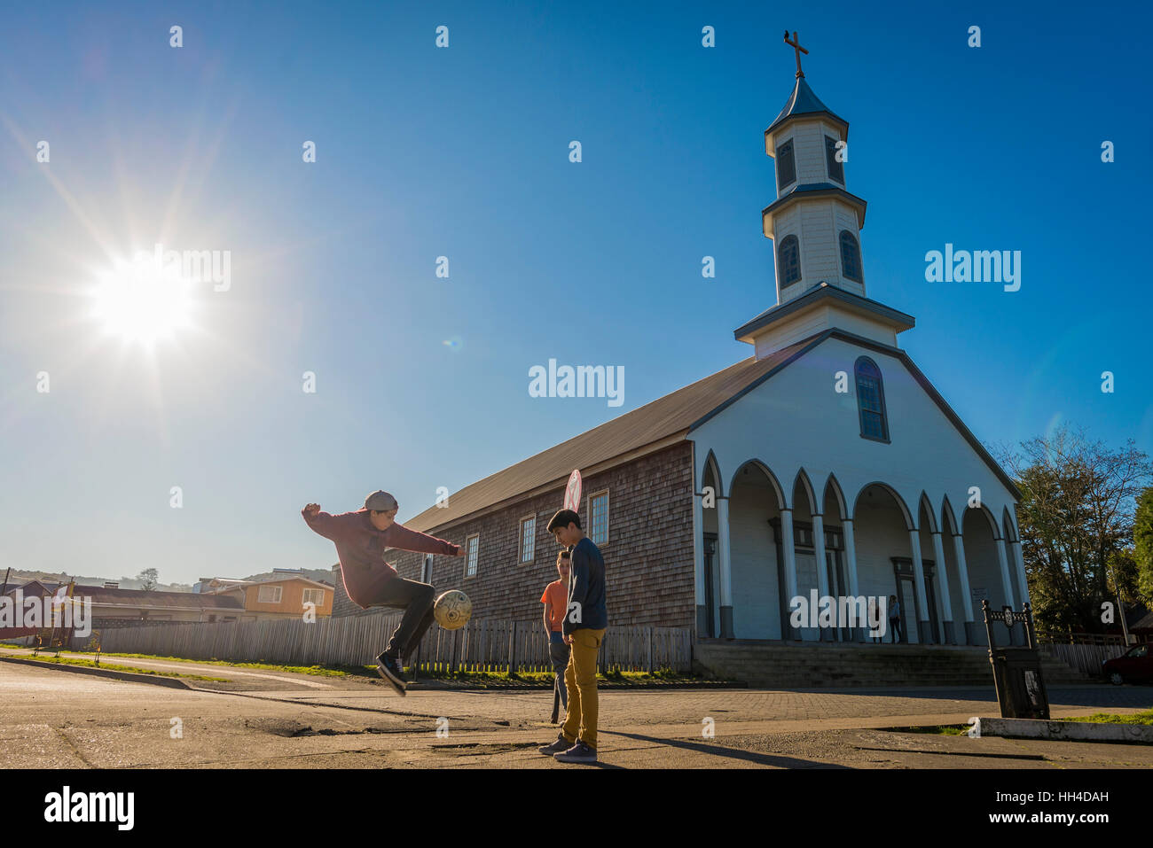 Big island of Chiloé. The lakes, Chile. Dalcahue church. churches of chiloe - Stock Image