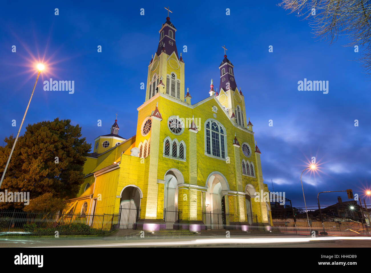 Big island of Chiloé. The lakes, Chile. Castro church - Stock Image