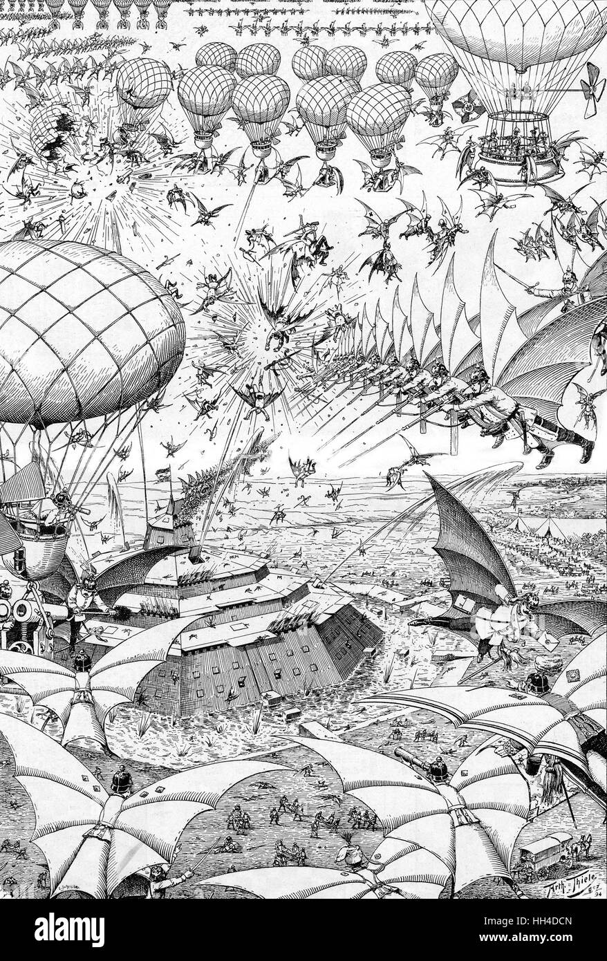 'ZUKUNSTKRIEG' A German prediction of the  next war - their airborne  divisions attack an armoured  French - Stock Image