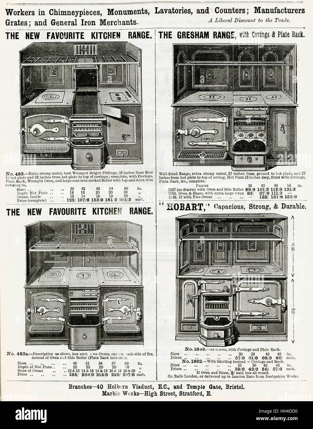 Four kitchen ranges by Ashton & Green, London - Stock Image