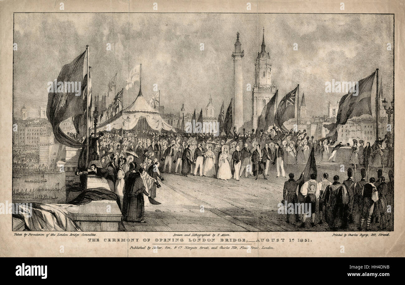 King William IV and Queen  Adelaide at the opening  ceremony of John Rennie's new  London Bridge. The bridge - Stock Image