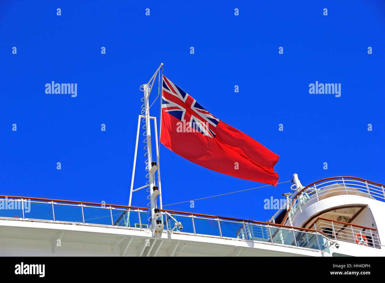 The Red Ensign being flown on P & O cruise ship Azura - Stock Image