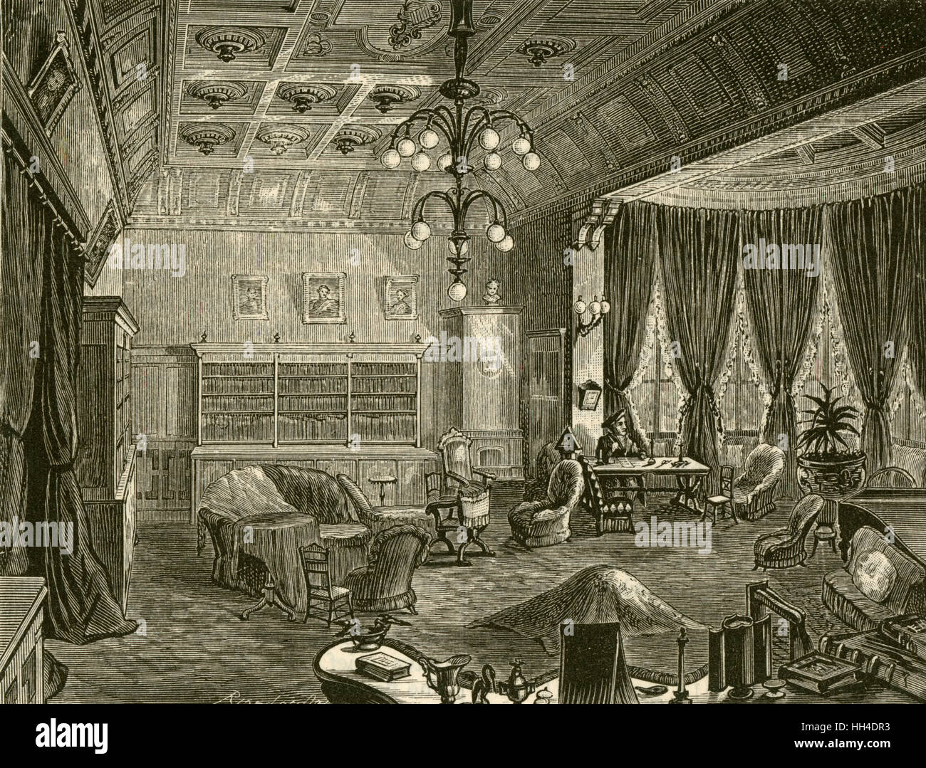 RICHARD WAGNER  German composer's villa,  'Wahnfried', at Bayreuth:  the library Stock Photo