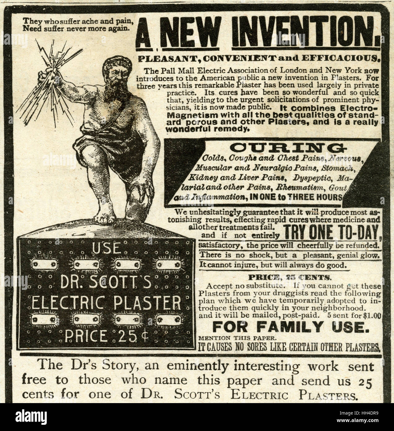 'They who suffer ache and pain, need suffer never more again'.  With the new invention Dr. Scotts electric - Stock Image